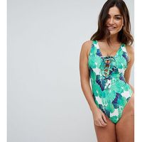 Wolf & whistle fuller bust lattice leaf printed swimsuit dd-g cup - multi