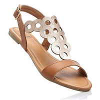Sandały wielbłądzia wełna - złoty marki Bonprix