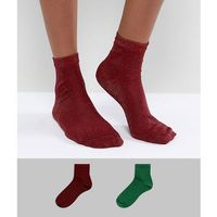 Asos 2 pack glitter ankle socks in green and red - multi, Asos design