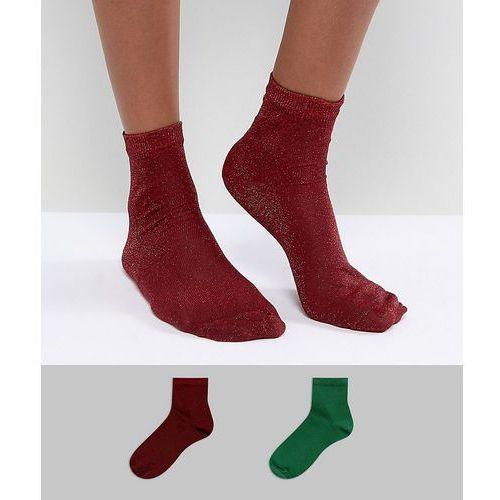 Asos 2 pack glitter ankle socks in green and red - multi, Asos design