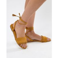 Pull&bear fringe tassle sandal with tie up in yellow - yellow
