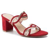 Klapki SAGAN - 3657 Czerwony Welur/Złoto, kolor czerwony