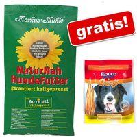 15 kg markus muhle + 250 g rocco chings mięsne paski do żucia, filet z kurczaka gratis! - black angus adult marki Markus mühle