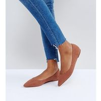 Asos latch wide fit pointed ballet flats - brown
