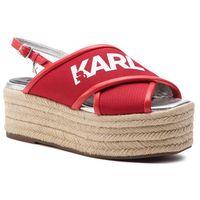 Espadryle KARL LAGERFELD - KL80305 Red Knit Textile W/White, kolor czerwony