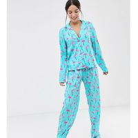 Asos tall Asos design tall flamingo trouser pyjama set in 100% modal - multi