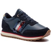 Tommy hilfiger Sneakersy - sequins retro runner fw0fw03703 midnight 403