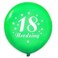 """Balony pastelowe z nadrukiem """"18 urodziny"""" - zielone - 30 cm - 5 szt."""