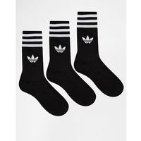 Adidas originals solid black crew socks - black