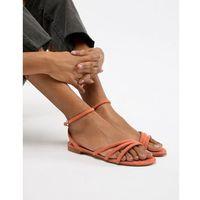 Mango faux suede strappy sandal in orange - Orange