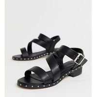 Truffle collection wide fit asymmetric mid heel sandals - black