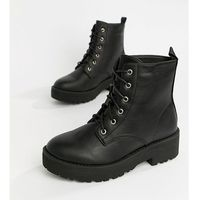 Truffle Collection Chunky Lace Up Flat Ankle Boots - Black, ankle