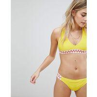 contrast stitch cross back bikini top - yellow marki Boohoo