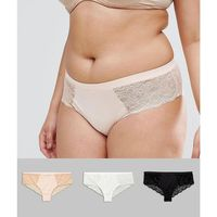 3 pack microfibre & lace french knicker - multi marki Asos curve