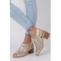 Złote sandały ażurowe zabudowane na słupku asa69-23, Jezzi, 36-41