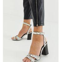 pu block heeled sandal in black pattern - black marki New look