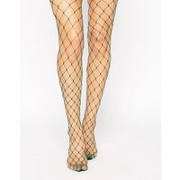 ASOS Oversized Fishnet Tights In Green - Green