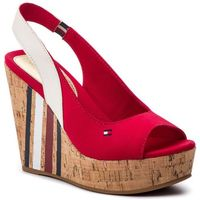 Sandały TOMMY HILFIGER - Sling Back Wedge Sandal Stripes FW0FW03839 Tango Red 611