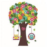 Naklejka Ścienna Drzewo Kolorowe i Sowy, G3AB-140A6