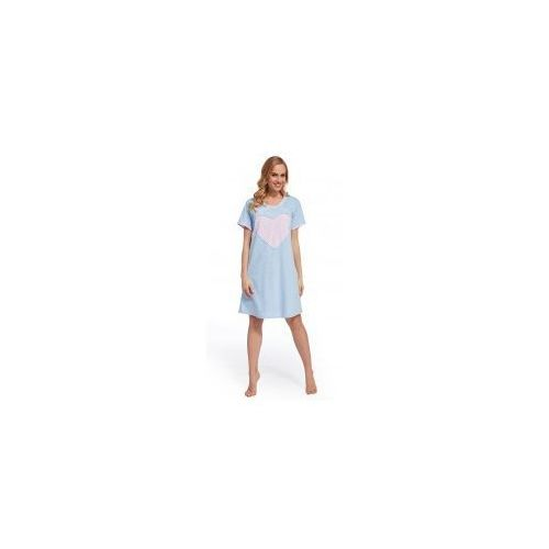 Koszula nocna ciążowa i do karmienia -błękitna różowe serce marki Dolce sonno