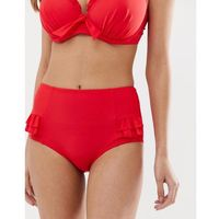 Pour Moi Splash frill high waist control bikini brief in red - Red, kolor czerwony