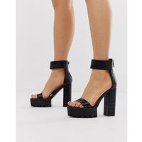 Simmi London Kamaya black chunky heeled sandals - Black, kolor czarny