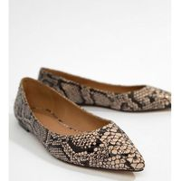 latch pointed ballet flats in snake - multi, Asos design