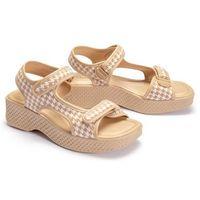321 295 (82) beige plaid, sandały damskie - biały ||beżowy, Azaleia