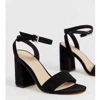London Rebel wide fit barely there block heel sandals - Black