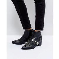 RAID Steph Stud Detail Mid Heeled Ankle Boots - Black, kolor czarny