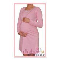 Koszula nocna ciążowa i do karmienia - Różowa dł. rękaw, KDRRE RÓŻÓWA