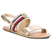 Sandały TOMMY HILFIGER - Corporate Ribbon Flat Sandal Met FW0FW02837 Mekong 709