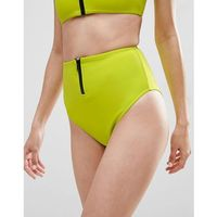 ASOS Neoprene Chunky Functional Zip High Waist Bikini Bottom - Green