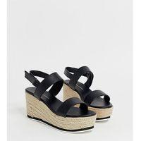 wide fit espadrille wedge sandal in black - black, New look