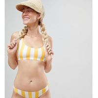 Monki block stripe bikini bottom in yellow stripe - multi