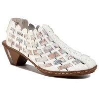 Sandały - 46778-80 weiss kombi marki Rieker