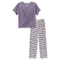 Piżama z shirtem z efektem założenia kopertowego bonprix lila z nadrukiem, w 2 rozmiarach
