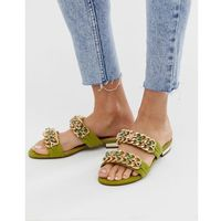 River island embellished two strap flat sandals in green - green