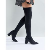 River Island Over The Knee Point Toe Scuba Boot - Black