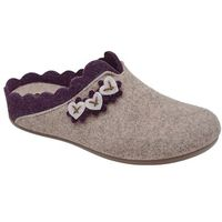 Kapcie MANITU 320574-8 Beige Beżowe Pantofle domowe Ciapy zdrowotne - Beżowy ||Fioletowy (4061168023764)