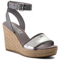 Espadryle TOMMY JEANS - Metallic Wedge Sandal EN0EN00236 Silver 000