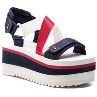 Tommy jeans Sandały - sporty neoprene flatform sandal en0en00466 rwb 020