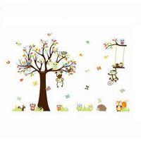 Naklejka dekoracyjna Bajkowe drzewo sowy, małpki