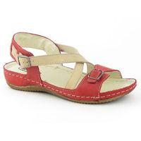Sandały damskie 215 - czerwony ||beż marki Helios