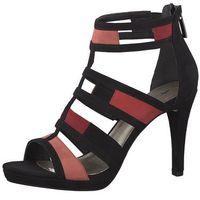 TAMARIS Sandały z rzemykami 'Strappy Heel Coloured' różowy / czarny, kolor różowy