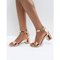 Glamorous barely there mid heeled block sandal in rose gold - gold