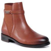 Botki TOMMY HILFIGER - Block Branding Flat Boot FW0FW05155 Pumpkin Paradise GOW, kolor brązowy