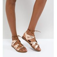 Office Saffy Rose Gold Leather Gladiator Lace Up Sandals - Gold