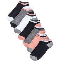 Bonprix Skarpetki do sneakersów (7 par) czarny melanż - koralowy - biały