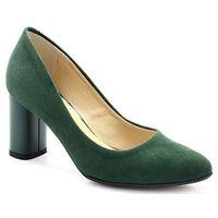 2741 zielone - zamszowe czółenka słupek - zielony, Tymoteo